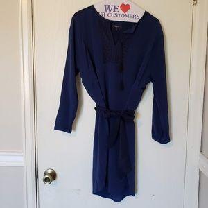 Madewell Navy Blue Embroidered Shirt Dress